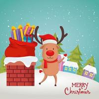 poster with reindeer in scene christmas vector