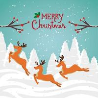 merry christmas poster with group reindeer in winter landscape vector