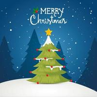 merry christmas poster with pine tree in winter landscape vector