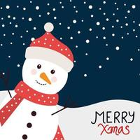 merry christmas poster with snowman in winter landscape vector