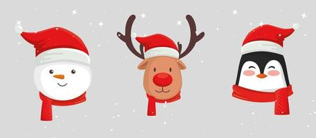 set of faces characters of merry christmas vector