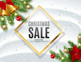 Christmas and New Year Sale Background, Discount Coupon Template. vector