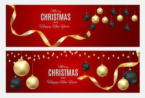 Merry Christmas and New Year Greeting Card Template vector