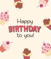 Happy Birthday Card Baner Background  with Cake. Vector Illustration