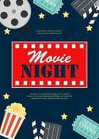 Abstract Movie Night Cinema Flat Background with Reel, vector
