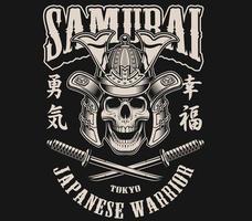 black n white skull samurai helmet vector