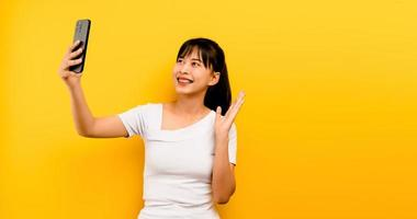 Online communication concept online learning Asian girl portrait photo