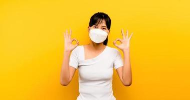 Asian woman wearing anti-virus mask to protect photo