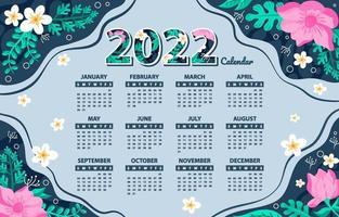 Template of Floral Calendar 2022 vector