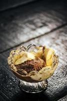 Classic chocolate and vanilla ice cream in bowl photo