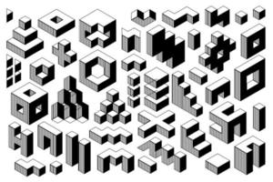 Abstract black and white geometric vector shapes.