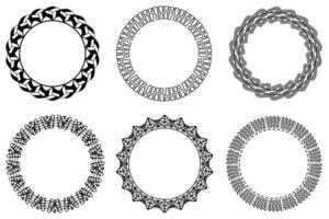 Vector circle frame set. Collection of black circular frames