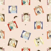 Seamless pattern with cute bears. Portraits of bears vector