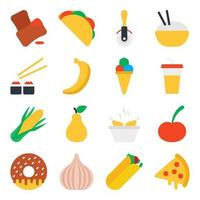 Pack of Junk Food Flat Icons vector