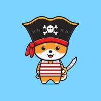 Cute shiba inu pirates cartoon icon illustration vector