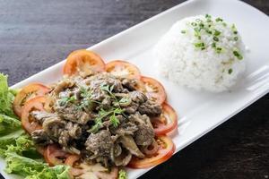 Cambodian fried beef lok lak traditional Khmer food photo