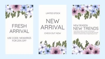 Set of Floral Flower Instagram Story Facebook and Whatsapp Stories. vector