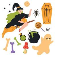 Set of Halloween elements with witch flying on broomstick. vector