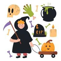 Set of Halloween elements. Cute and fun flat illustration vector