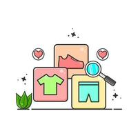 shirt shoes and pants with magnifying glass illustration flat design vector
