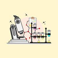 flat design laboratory with five test tubes and a microscope vector