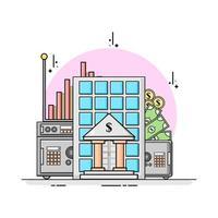 bank building flat design for safe your money concept vector