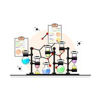 laboratory flat design with seven test tube and two document vector