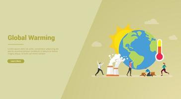 global warming concept with earth and sun for website template vector