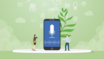 voice command technology with people concept with modern flat style vector