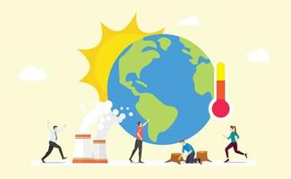 global warming earth concept with sun and thermometer with team people vector