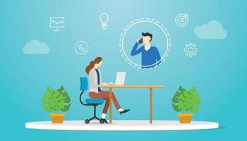 tech support concept with woman and man on call services vector