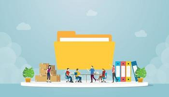 files management concept with team people in office manage vector