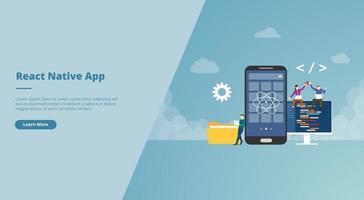 react native mobile app development concept vector