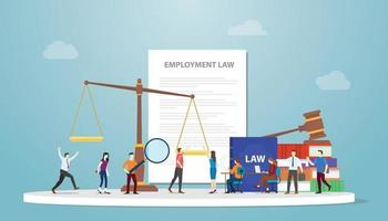 employment law concept with document paper and gavel vector