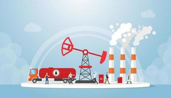 oil and gas concept with truck tanker and oil refinery industry vector