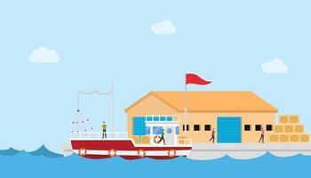 fishery industry concept on small port and warehouse or storehouse vector