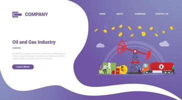 oil and gas business profit for website template or landing homepage vector