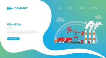 oil and gas industry for website template or landing homepage banner vector