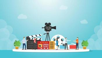 cinema movie festival with various movie object with people discussion vector