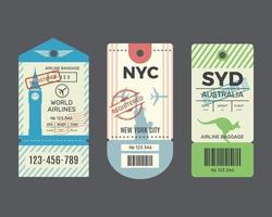 Traveling old tickets flight labels stamps for luggage vector