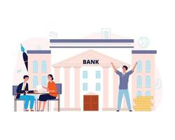 Bank agreement Loan, man signing contract with manager Finance vector