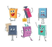 Cartoon funny faces of old books opened and closed vector