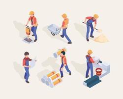 Isometric workers Builders in uniform different construction machines vector