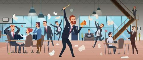 Businessman screaming in office chaos deadline stress managers working vector