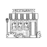 Cafe buildings. Hand drawn shop restaurants small vector