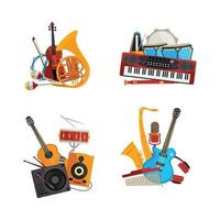 cartoon musical instruments piles set isolated vector