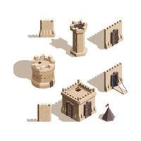 Castles isometric Medieval buildings brick wall vector