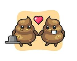 poop cartoon character couple with fall in love gesture vector