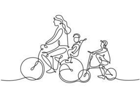 un dibujo de línea continua de madre montando bicicleta con su hijo vector