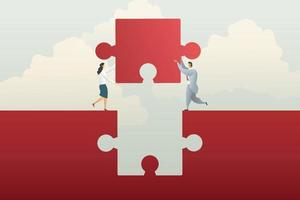 Business teamwork cooperation, holding jigsaw puzzle connect red way. vector